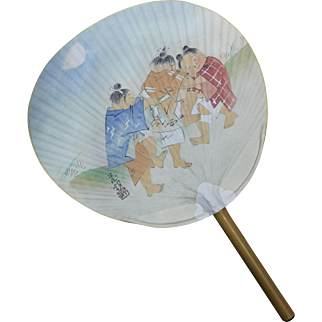 Souvenir round fan UCHIWA from Shitennoji Temple in Osaka Japan - extra large