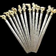 Turkish skewers - 12 metal with brass animals