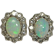 Antique Edwardian Lightning Ridge Opal & Diamond Earrings in 14K Gold