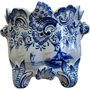 Antique Delft or French Faience Small Rococo Fluted Tin-Glazed Jardiniere Late 18th century/early 19th century