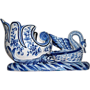 "Antique Holland or French Faience Delft Jardiniere ""Swan Nesting in Basket Flanked by Water Monsters"" 19th century"