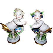 "Pair of Giuseppe Cappe Capodimonte Putti of the Four Seasons circa 1950's  6"" high"