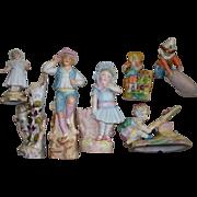 Antique Seven (7) Bisque Porcelain Spill Vases & Figurines Collection circa 1900