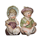 Vintage Pair of Bisque Boy & Girl Piano Babies