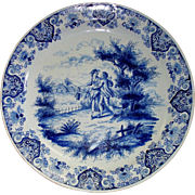 Antique Delft Faience Charger by Albrecht de Keyser  of  Lovers in Country-Side Picnic  16th /17th Century  16 ""