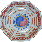 "Antique Chinese Porcelain Octagon =8 Sided  ""Ying Yang""  Tongzhi Deep Bowl on Stand circa 1880"