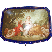 Vintage French Style Porcelain Box Scene of Lovers in Landscape