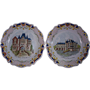 """Antique French Faience """"Marseilles"""" Plates of Landmarks"""