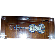 Antique French Faience Desvres Fourmaintraux Freres Violin in Lucite Display Case ca.1880