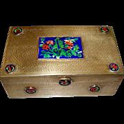 Antique Chinese Brass & Enamel Large Box ca. 1900