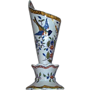 Antique French Faience Fourmaintraux Vase with Two Blue Birds & Butterfly