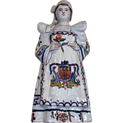 "Antique French Faience Girl with Armorial & Bell     ""Le Rochelle"""
