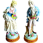"""Antique Pair French Porcelain Figurines  17"""" High."""