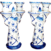 "Antique French Faience ""Claude Reverend"" Candlesticks  ""Clowns""   circa 1664- 1740  rare"