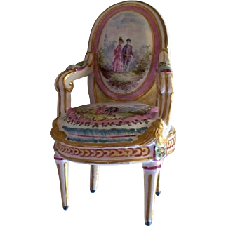 "Antique  French  Faience "" Marseilles "" Louis XVI  Chair dated 1777  Rare"