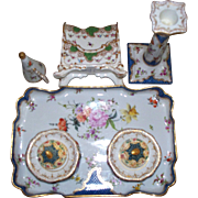 "Antique Dresden Meissen -Style ""Richard Klemm""  Desk Set   circa 1900.. 9 pieces"