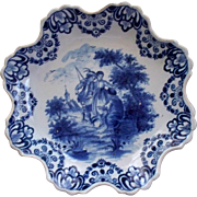 "Antique Delft Notched/ Scalloped Deep Plate "" De Metaale Pot "" circa 1670-1775 signed"