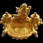 Antique French Bronze Rococo Ink Stand Putto/Cherub  w Sword