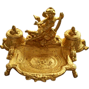 Antique French Bronze Rococo Ink Stand Putto/Cherub  w Sword