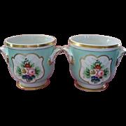 "Pair of "" Vista Alegre "" Cache Pots  Portugal  V.A.  Never used.. circa 1950"