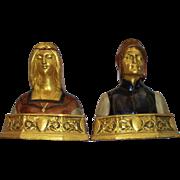 "Antique Pompeian Bronze Company "" Dante  &  Beatrice "" Book Ends circa 1915"