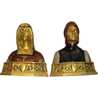 "Antique Pompeian Bronze Company "" Dante  &  Beatrice "" Book Ends circa 1915"
