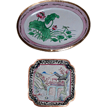Two Chinese Enamel Trays.. Larger one circa 1930:  Smaller one circa 1890