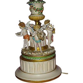 Antique  Dresden  Winged  Angels  Musicians  Lamp