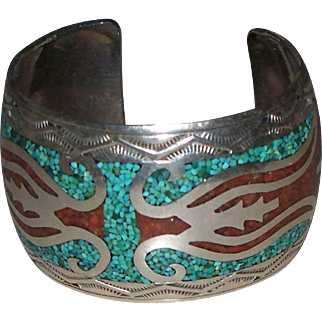 American Indian Navajo Cuff Bracelet Sterling w/ Chip Inlay by Franck  Bowman circa 1970s