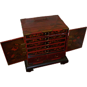 Antique Chinese Vermillion Lacquered Chest w Drawers on stand.. circa 1880s