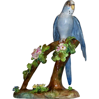 """Lovely  Vintage  Crown  Staffordshire """" Parakeet """" by J.T. Jones    perfect"""