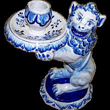 """Antique Holland Delft  """" De Oude Moriann's Hooft """" = """"The Moor's Head""""  Lion Candlestick   circa 1700"""