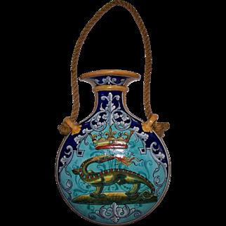 "Antique Ulysse Blois E. Balon  ""Salamander"" Wall Pocket Vase  circa  1900"