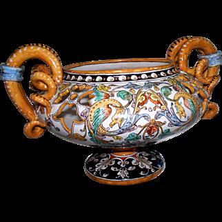 Antique Ulysse Blois Faience  Jardiniere w Salamanders