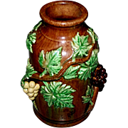 An Antique English Majolica Vase with Grapes & Leaves  3-D