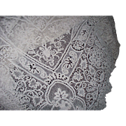 "Antique Hand-Made Needle Lace Figural & Winged Angels Tablecloth 55"" x 102"""