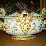 Antique Italian Cantagalli Majolica Tureen with Blue Rooster Mark  circa 1860