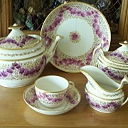 Antique Josiah Spode Tea Set in Lilac Flowers & Gilt circa 1800