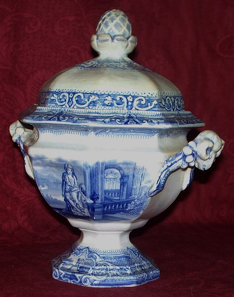 "Rare Antique Staffordshire ""Davenport"" Pearlware Compote w/ Angel New York City!"