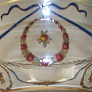 BACCARAT Crystal  Bowl with Jar enamelled Rose-Wreaths and French Ribbons ca 1920