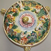 Capodimonte Enamelled Tureen of Joyful Cherubs/Children circa 1930