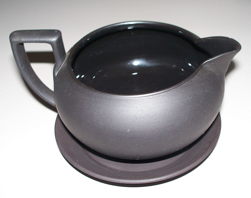 "Wedgwood Black Basalt Creamer & Tray   ""Made in England"""