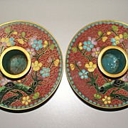 Pair of Chinese Cloisonne Candlesticks