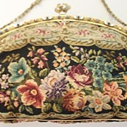 "Antique Needlepoint ""Petit Point"" Purse with Jewels   Austrian"