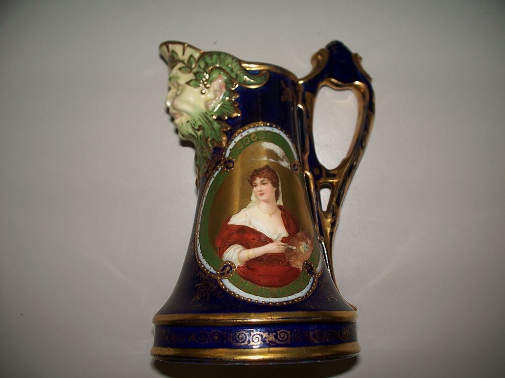 Royal Vienna Portrait of an Artist Pitcher/Jug w Satyr Mask  Bee Hive Mark
