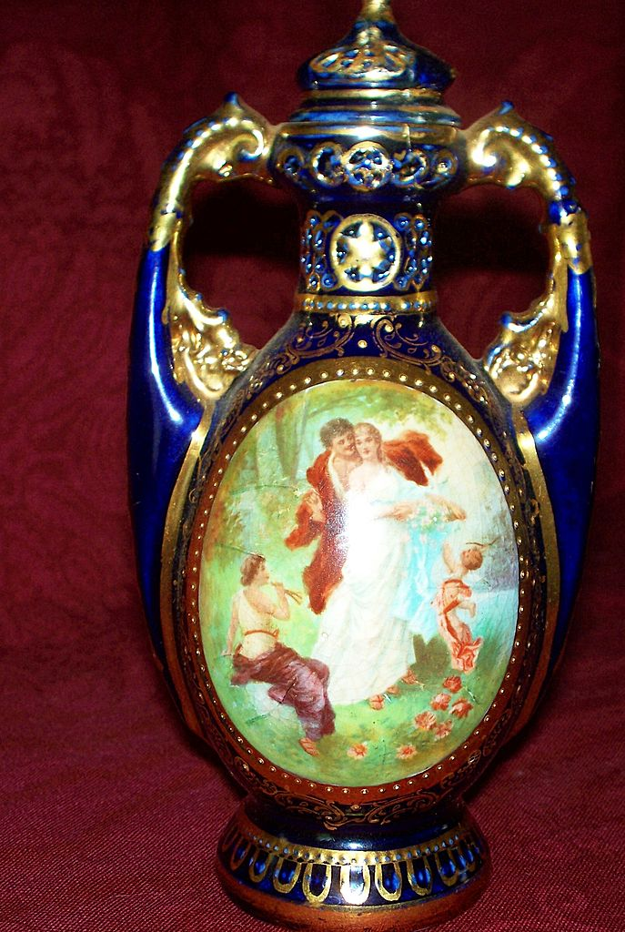 Antique Royal Vienna Potpourri Vase with Lovers