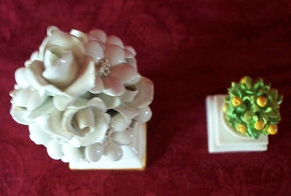 Two Italian Porcelain Floral & Orange Tree  Column  Vases