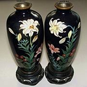 Antique Matching Pair Japanese Cloisonne Silver Wire  circa 1890