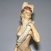 Vintage  Capodimonte  B. Merli  Women with Feathered Hat  1981