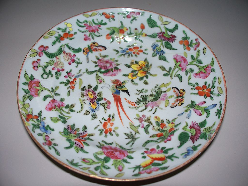 Antique Chinese Deep Plate with Phoenix Butterflies Melons Circa  Antique Charm | Ruby Lane & Antique Chinese Deep Plate with Phoenix Butterflies Melons Circa ...